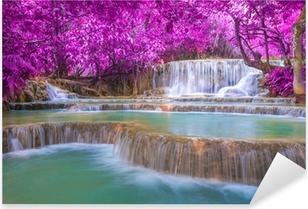 Waterfall in rain forest (Tat Kuang Si Waterfalls at Luang praba Pixerstick Sticker