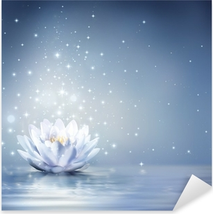 waterlily light blue on water - fairytale background Pixerstick Sticker