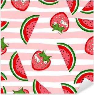 Watermelon and strawberry seamless pattern. Summer texture. Cartoon vector fruit background. Pixerstick Sticker