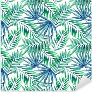 Pixerstick Sticker Waterverf het tropische verlaat naadloos patroon