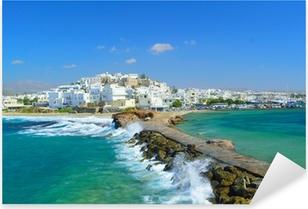 Waves breaking on Naxos town pier, Greece Pixerstick Sticker