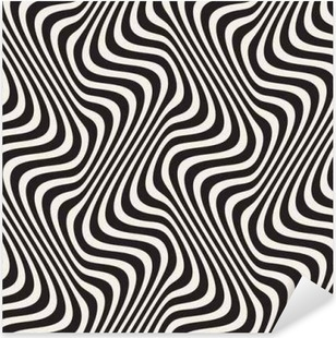 Wavy Lines Optical Illusion. Vector Seamless Black and White Pattern. Pixerstick Sticker