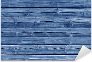 Weathered blue color log house wall. Pixerstick Sticker