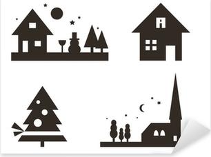 Weihnachtliche Silhouetten: Landschaft, Weihnachtsbaum, ... Pixerstick Sticker