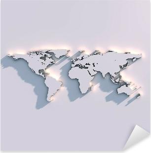 Weltkarte Relief auf der Wand Pixerstick Sticker