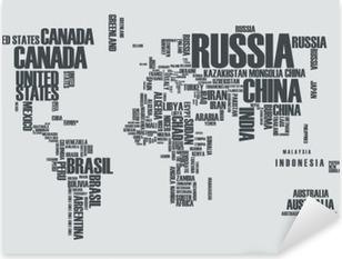 Pixerstick Sticker Wereldkaart: de contouren van het land bestaat uit de woorden
