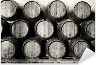 Whisky or wine barrels in black and white Pixerstick Sticker
