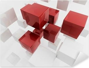 White 3d boxes / cube | Business Concept Wallpaper Pixerstick Sticker