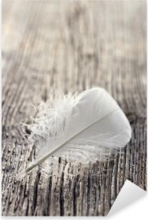 White feather Pixerstick Sticker