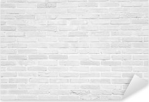 Pixerstick Sticker White grunge bakstenen muur textuur achtergrond