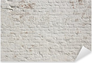 White grunge brick wall background Pixerstick Sticker