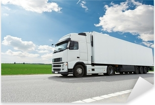 white lorry with trailer over blue sky Pixerstick Sticker