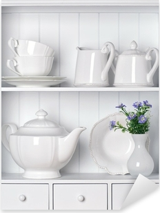 White shelf with vintage porcelain tableware Pixerstick Sticker