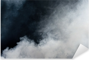 White smoke on black background. Isolated. Pixerstick Sticker