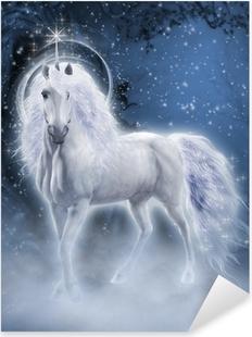 White Unicorn 3d computer graphics Pixerstick Sticker