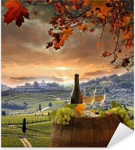 White wine with barell in vineyard, Chianti, Tuscany, Italy Pixerstick Sticker