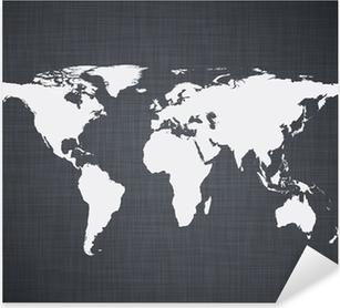 White world map. Pixerstick Sticker