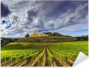 Pixerstick Sticker Wijngaarden in de Chianti regio Toscane, Italië