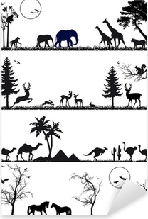 wildlife animal background set, vector Pixerstick Sticker