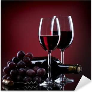 Wine in glasses with grape and bottle on red Pixerstick Sticker