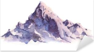 Pixerstick Sticker Winter bergen landschap, geïsoleerd op een witte achtergrond. hand getrokken, aquarel illustratie.