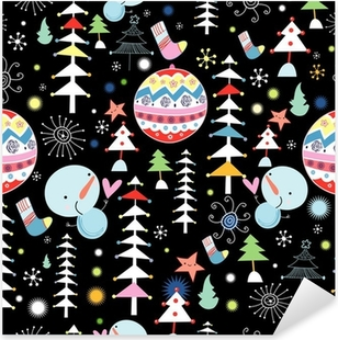 winter texture of trees and snowmen Pixerstick Sticker