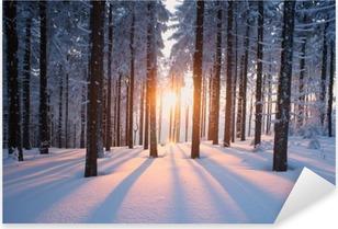 Pixerstick Sticker Winterse zonsondergang in het bos