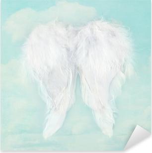 Pixerstick Sticker Witte engelenvleugels op gestructureerde hemel achtergrond