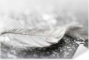 Pixerstick Sticker Witte veer met water druppels