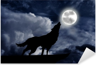 Wolf howling at the full moon Pixerstick Sticker