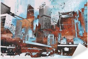 Pixerstick Sticker Wolkenkrabber met abstract grunge, illustratie painting