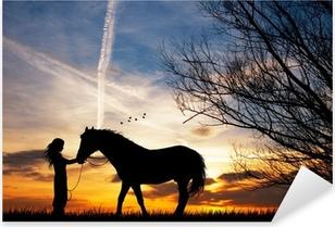 woman and horse Pixerstick Sticker