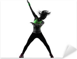 woman exercising fitness zumba dancing silhouette Pixerstick Sticker