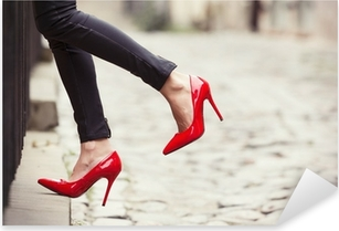 Woman wearing black leather pants and red high heel shoes Pixerstick Sticker