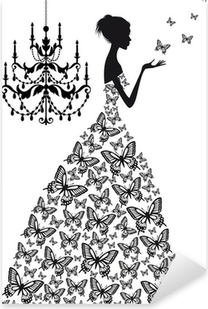 woman with butterflies, vector Pixerstick Sticker