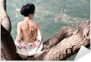 Woman with snake tattoo sitting on tree branch (Orig) Pixerstick Sticker