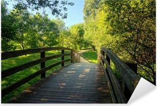 wooden bridge on park Pixerstick Sticker