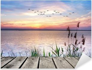 Wooden jetty at sunset Pixerstick Sticker