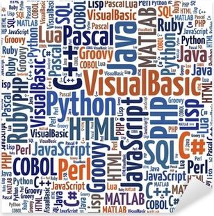 Pixerstick Sticker Word cloud programmeertalen of IT-gerelateerde