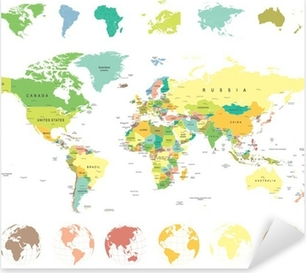Clear world map sticker pixers we live to change world map and globes highly detailed vector illustration pixerstick sticker gumiabroncs Choice Image