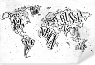 Watercolor world map on a brick wall sticker pixers we live to worldmap vintage paper pixerstick sticker gumiabroncs Images