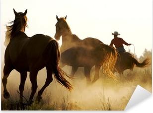 wrangler herding wild horses Pixerstick Sticker