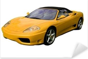 yellow convertible supercar Pixerstick Sticker