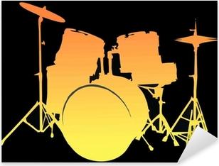 Yellow / Orange drum set Pixerstick Sticker