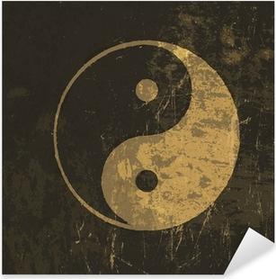 Pixerstick Sticker Yin yang grunge icon. Met spatie textuur, vector