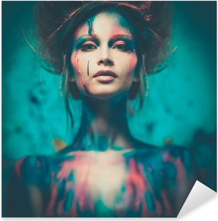 Young woman muse with creative body art and hairdo Pixerstick Sticker