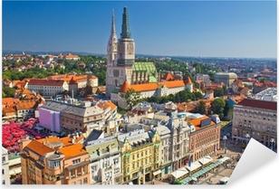Sticker Pixerstick Zagreb place principale et la cathédrale vue aérienne