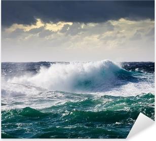 Pixerstick Sticker Zee Golf tijdens storm