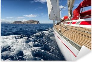 Pixerstick Sticker Zeilboot in Sardinië kust, Italië