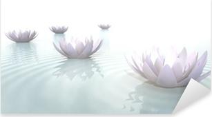 Pixerstick Sticker Zen Bloemen op het water in breedbeeld